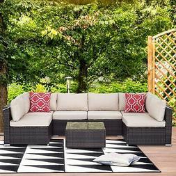 7 Piece Outdoor Patio Rattan Wicker Sofa Sectional Conversat