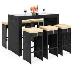 7-Piece Outdoor Rattan Wicker Bar Dining Patio Furniture Set