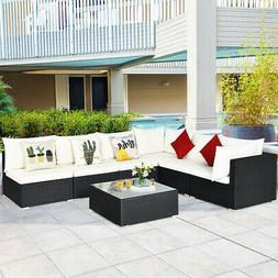 7 Piece Outdoor Sectional Sofa Set With Beige Cushions Moder