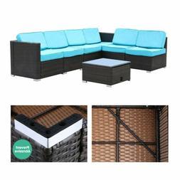 7 Piece Patio Rattan Wicker Sofa Set Cushioned Sectional Cou