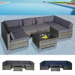 7 Piece Set Rattan Sofa Luxury Modular Conversation Outdoor
