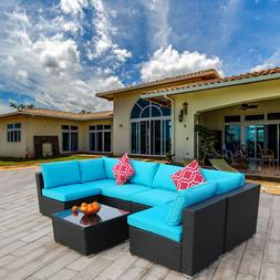 7 pieces patio sofa set pe rattan