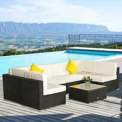 7 Pieces Rattan Wicker Sofa Set Sectional Couch Cushioned Fu