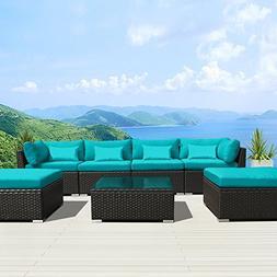 Modenzi 7C-U Outdoor Sectional Patio Furniture Espresso Brow