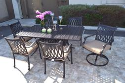 "7pc dining set cast aluminum patio furniture with Nassau 42"""