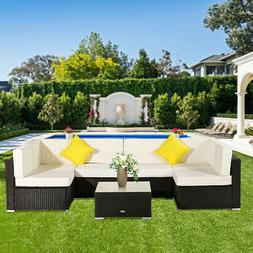 7PC In/Outdoor Patio Furniture Couch Wicker Rattan/w Cushion