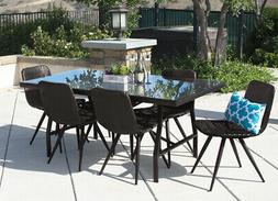 7pc outdoor dining set brown wicker patio