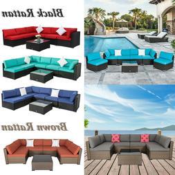 7PC Outdoor Patio Furniture Sofa PE Wicker Rattan Cushioned
