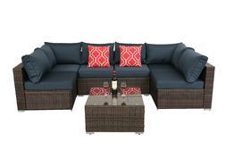 HTTH 7PC Outdoor Patio Furniture Sofa Set Rattan Coffee Tabl