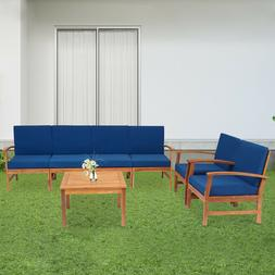 7PC Outdoor Patio Furniture Sofa Set Sectional Couch Acacia