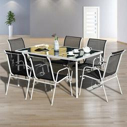 7PC Patio Table Chairs Furniture Set Outdoor Garden Dining S