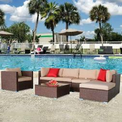 7PCS In/Outdoor Patio Sofa Set Sectional Furniture Wicker Ra