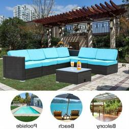 7PCS Outdoor Patio Sectional Cushioned Furniture PE Wicker R