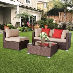 7PCS Outdoor Patio Sectional Furniture PE Wicker Rattan Sofa