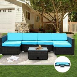 7pcs patio outdoor furniture sets pe rattan