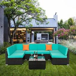 7PCS Sectional Outdoor Patio  Furniture Wicker Rattan Sofa S