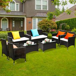 8 PCS Patio Garden Rattan Furniture Set Coffee Table Cushion