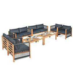 8 Pieces Acacia Wood Outdoor Patio Furniture Set Cushioned S