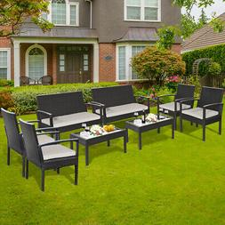 8 Pieces Patio Rattan Table Chair Set with Cushioned Seat Ga