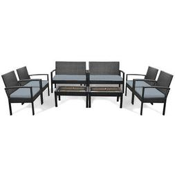 8 Pieces Patio Rattan Table Chair Set w/Cushioned Seat Yard