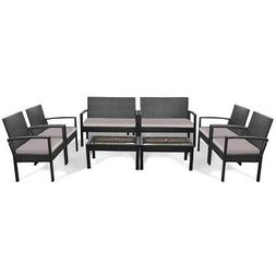 8 Pieces Patio Rattan Table Chair Set w/Cushioned Seat Garde