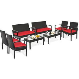 8PCS Patio Rattan Furniture Set Cushioned Loveseat Armrest G