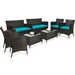 8PCS Rattan Patio Furniture Set Cushioned Sofa Chair Coffee