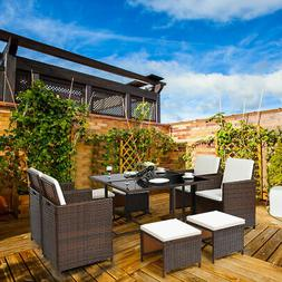 9 PCS Outdoor Patio Dining Set Rattan Wicker Furniture Garde