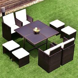 9pcs TANGKULA Patio Furniture Outdoor  Rattan Dining Set Cus