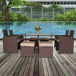 9PCS Wicker Rattan Patio Furniture Sofa Set Cushion Dining T