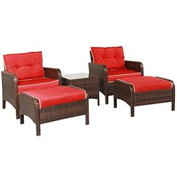 Tangkula Wicker Furniture Set 5 Pieces PE Wicker Rattan Outd