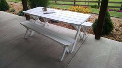 A&L Furniture Co. Amish-Made Pine Cross-Leg Picnic Tables wi