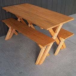 A & L Furniture Pine Cross Legged Picnic Table with Benches,