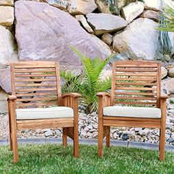 W. Designs Set of 2 Acacia Patio Chairs