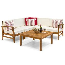 Best Choice Products 6-Piece Acacia Wood L-Shape Sectional S