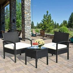 Tangkula AM0583HM 3 Piece Patio Furniture Set with 2 Cushion