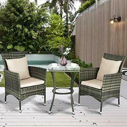 Tangkula AM0991HM 3 Piece Furniture Wicker Rattan Outdoor Pa