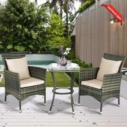 Am0991Hm 3 Piece Furniture Wicker Rattan Outdoor Patio Set,