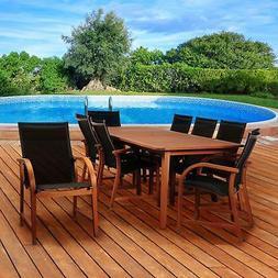 Amazonia Bahamas 9 Piece Eucalyptus Rectangular Dining Set w