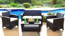 Arlington 4 Piece Deep Seating Set Outdoor Patio Furniture W