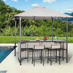 Outsunny Outdoor Bar Table Set Cloth Canopy & 2 Chairs Patio