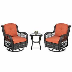 BCP 3-Piece Patio Wicker Bistro Furniture Set w/ 2 Swivel Ro