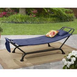 Mainstays Belden Park Cushion Hammock, Black with Indigo Blu