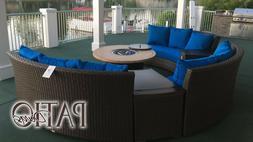 Bermuda 6-Piece All-Weather Wicker Circular Sofa Outdoor Pat