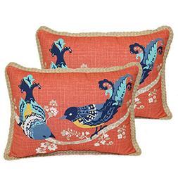 Better Homes and Gardens Paisley Bird Toss Pillow Outdoor- S