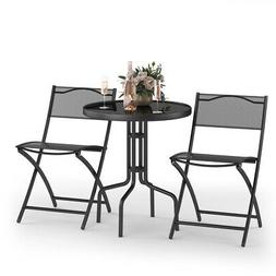 3 Pcs Bistro Set Garden Backyard Table Folding Chairs Outdoo
