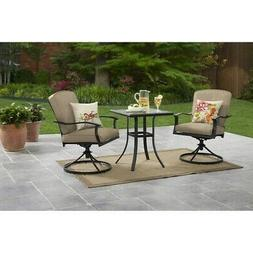 3 Pcs BISTRO SET Outdoor Patio Furniture Swivel Chairs Cushi