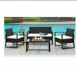 Black  4 PCS With Cushioned Rattan Patio Wicker  Garden Lawn