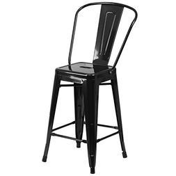 """Flash Furniture 24"""" High Black Metal Indoor-Outdoor Counter"""