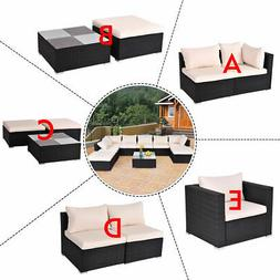 Black Outdoor Patio Rattan Furniture Set Infinitely Combinat
